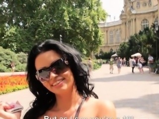 Two big tits Eurobabes horny threesome in public for money