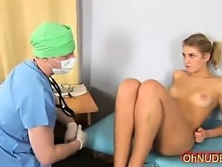 Pretty sexy blonde naked exam