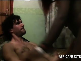 POV African bitch goes oral on big white dick