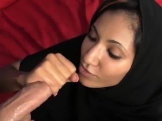 Muslim pornstar Sadie wanks cock in her hijab