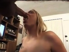 Dirty Blonde With A Tattoo Blowing Cock
