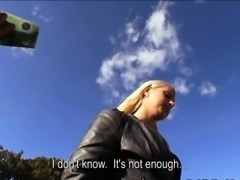 Pretty hot blonde Czech girl screwed in public for money
