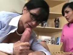 Mature CFNM nurses fuck and suck hard cock