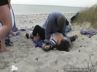Slutwife fucked and creampied by strangers on the beach free