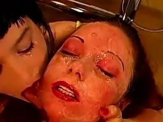 German bukkake sluts taking cum facials from group of guys