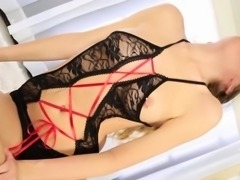 Alison Faye CFNM babe tugging cock