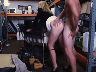 Sexy blonde milf pawns her pussy and fucked in storage room