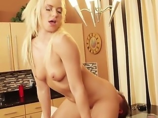 Anikka needs to close this deal no matter what. She is a slim blonde with an amazing body who can be a dirty teel slut when needed. She seduces her client and starts riding on his big tadger on the kitchen table.