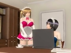 Sexy 3D anime maid gets fucked