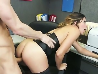 Danica is an Americansex bomb who is looking to score some cock. She gets down on her boss who has a monster dick and fulfills all of her fantasies with deep pussy banging at the office. In the end he comes all over her face