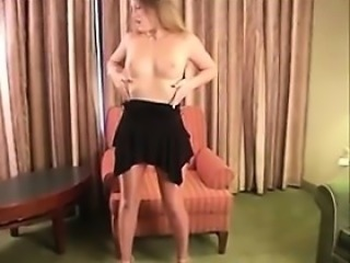 Sexy Blonde Wearing Pantyhose And High Heels