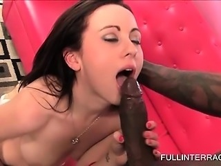 Hot brunette on knees eats and rubs black dick