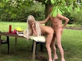 Paul is liking his breakfast in the garden with his new girl