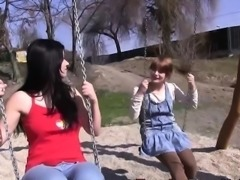 Teen lez climax in park