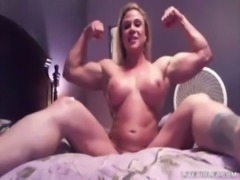 Flexible big titted blond Big Juicy Booty with biceps rides dildo free