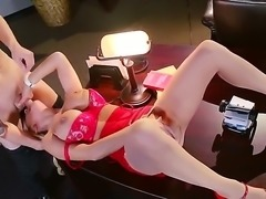 Alyssa Lynn is a hot blonde girl with huge boobs wearing red heels and red...