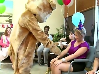 Dancing bear videos present  horny milfs who hired a dude in a bear costume to entertain them. All of them end up so horny, that they decide it is time for more than just dancing. They take out his cock and start sucking it hard.