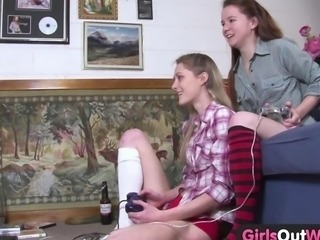 Girls Out West - Lesbian babes with hairy and trimmed cunts