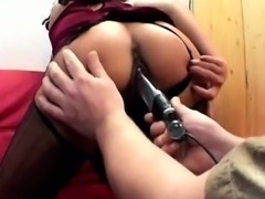Perv rips his sexy secretarys pantyhose to tease her with