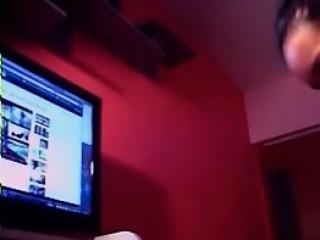Sexy brunette teen show big-ass on webcam