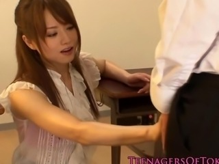 Japanese cougar teacher fucked by her student