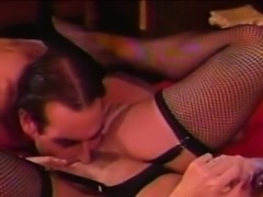 Horny mature stud tongues his gothic wifes coochie
