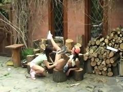 Hung asian teens Cutting wood and gobbling pussy