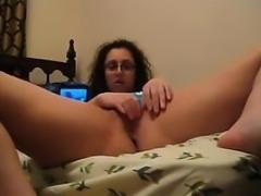 Nerdy Brunette Girl Masturbates In Bed