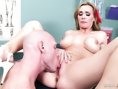 Tanya Tate gets her throat attacked by Johnny Sinss throbbing snake