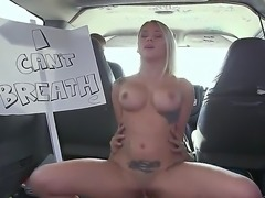 Sex bus adventures. This sexy amateur blonde is picked up on the street and talked into getting inside a bus. She doesnt waste much time and fucks the driver