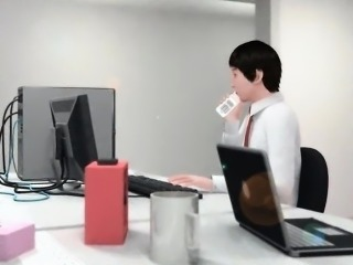 Hentai anime maiden giving blowjob to her boss