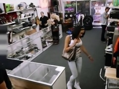 Huge boobs amateur brunette latina banged at the pawnshop