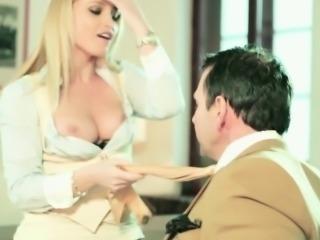Classy flashing secretary fucking her boss