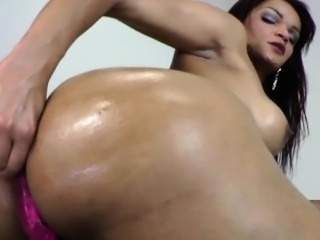 Big tits tranny Lorraine Balde jerks off and anal toyed