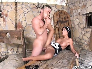 Black Angelika gets impaled on love torpedo by hot man