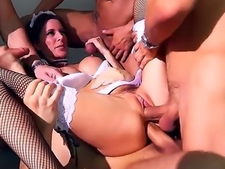 Sex obsessed maid Gia Dimarco gets her ass and mouth used with no mercy in dirty gangbang action. She gives handjob and sucks cock at th same time while getting double penetrated. Four dicks are more than enough!