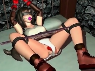 Roped anime sex slave in huge tits cunt banged hard