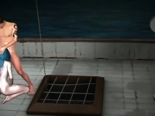 3D elf babe sucks cock and gets fucked on a boat