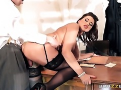 Anna Polina has fun in office
