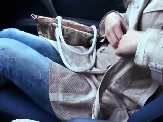 Bushy Eurobabe gets fucked by stranger in the car for cash
