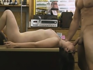 Brunette Amateur Wearing Glasses Face Fucked In Pawn Shop