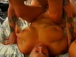 chubby blonde slag and two cocks