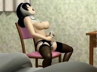 3D anime nun in stockings dildo twat
