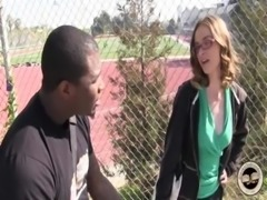 Sexy nerdy white girl tries big black cock free