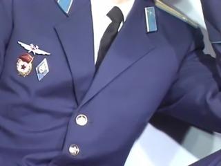 Russian military wanks his huge cock