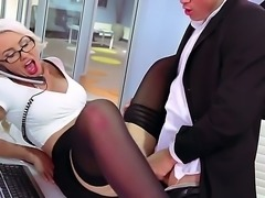 Big titted blonde secretary Gigi Allens in tempting red and black lingerie...