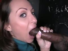 Charming long haired brunette Vanessa Luna wraps her lips around fat black...