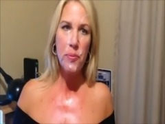 mature giving a blowjob and receive a huge facial free