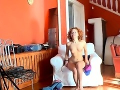 Playful curvy haired girl Sunny shows every inch of her sexy nude young body....