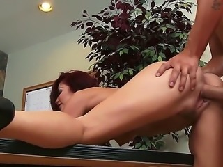 Monique Alexander is a hot and horny redhead chick who just wants some of that thick shlong in her mouth while her pussy is getting eaten out, so she can ride it.